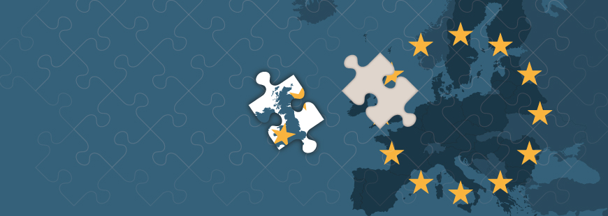 Europe map jigsaw with EU stars on and the UK removed
