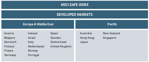 MSCI EAFE INDEX MARKET ALLOCATION table