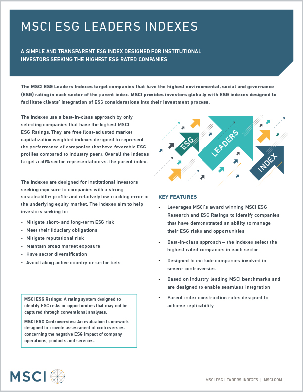 MSCI ESG Leaders Indexes Factsheet