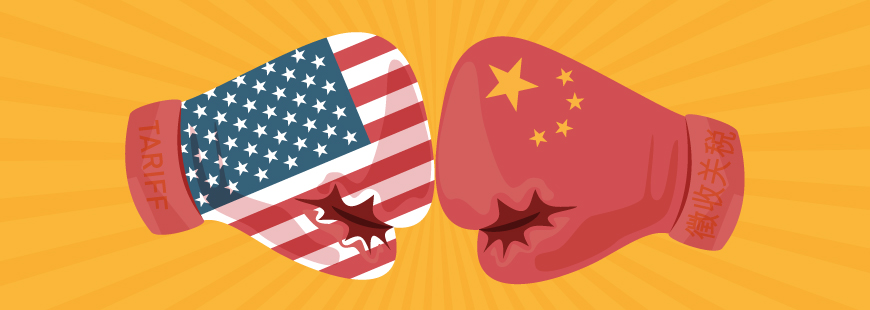 US and China boxing gloves bumping fists to indicate trade war